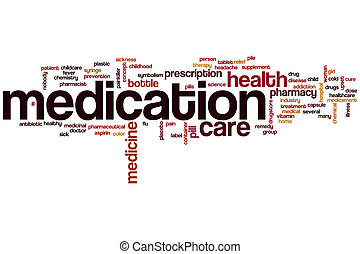 Medication word cloud concept with medicine pharmacy related...