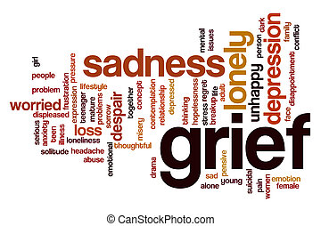 Grief word cloud concept with sad lonely related tags