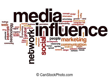 Media influence word cloud concept with marketing network...