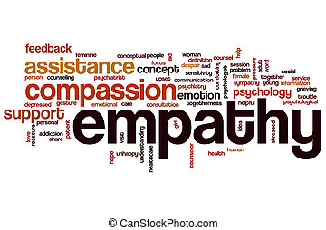 Empathy word cloud concept with compassion emotion related...