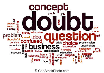 Doubt word cloud concept with question problem related tags