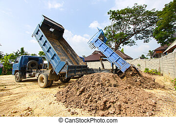 dumper truck on construction site,truck on a construction...