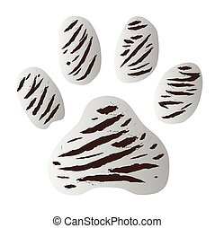 white tiger footprint vector on white background