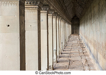 Ancient corridor at Angkor Wat