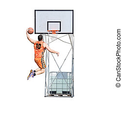 player dunking in the hoop - basketball player with orange...