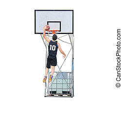 basketball player dunking in the hoop - basketball player...