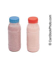 biótico, yogur, Bebida, botellas, aislado, en, blanco,...