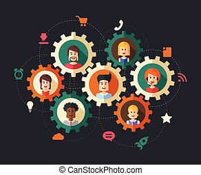 Illustration of abstract people business composition -...