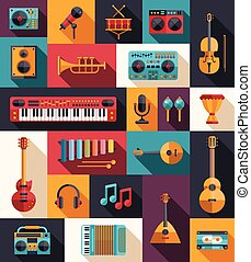 Set of modern flat design musical instruments and music...