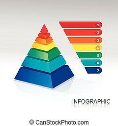 piramide, infographic, coloridos, Vector.,