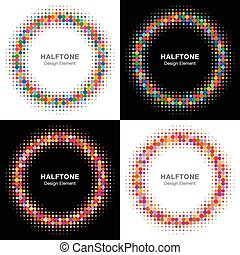 Set of Colorful Bright Halftone Circles