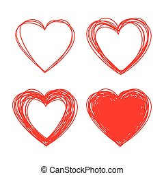 Set of Hand Drawn Scribble Hearts