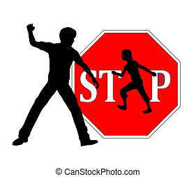 Stop Beating Children - Concept sign against physical...