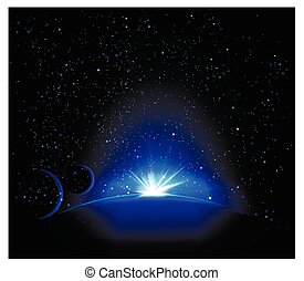 planetarium space - Blue planet. Space landscape. Planets in...