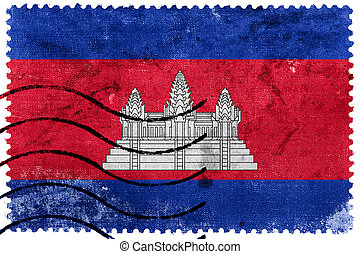 Cambodia Flag - old postage stamp