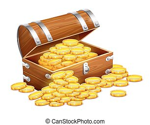 Pirates trunk chest full of gold coins treasures