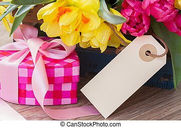 spring flowers with gift box