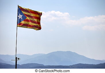 freedom flag of Catalonia - Catalan flag with pole blowing...