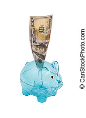 Glass piggy bank, with US $100 bill