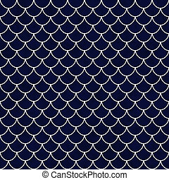 Navy and White Shell Tiles Pattern Repeat Background that is...
