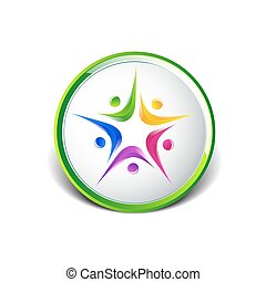 People five logo template icon vector