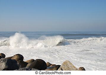Crashing waves - Waves crashing onto the rocks at Espinho,...