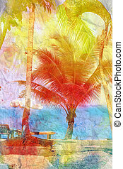 watercolor landscape with palm trees retro