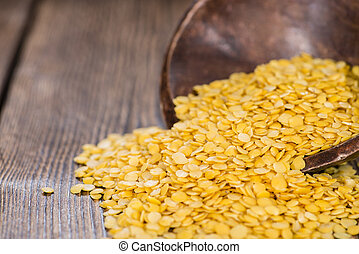 Raw yellow Lentils - Portion of raw yellow Lentils detailed...