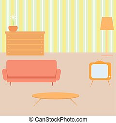 Living room in retro style. Vector