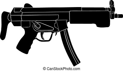 Submachine gun Automatic weapon A machine gun contour on a...