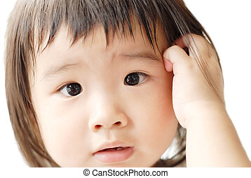 baby with confused face - She is a beautiful Asian baby with...