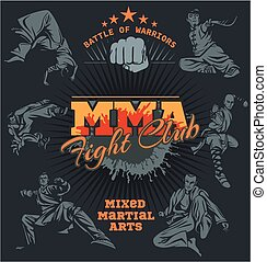 MMA Labels - Vector Mixed Martial Arts Design - MMA Fight...