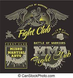 MMA, etiquetas, -, vetorial, misturado, marcial, artes,...