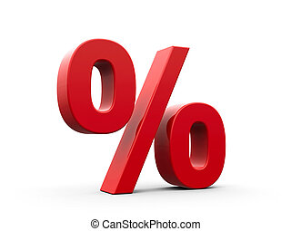 Red Percent - Red percent sign isolated on white background,...