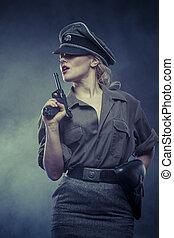 warrior, Official German woman, representation of tyranny...