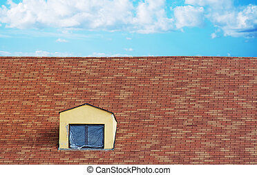 plastic cloth on a skylight in a tile roof