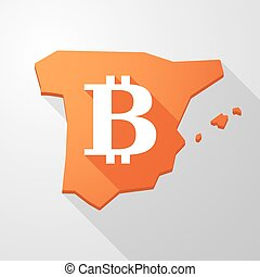 Spain map icon with a bitcoin sign - Illustration of a Spain...