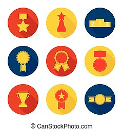 Set of vector icons of different awards, cup, ribbons,...