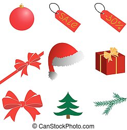 New year. Christmas. Clipart. Vector.