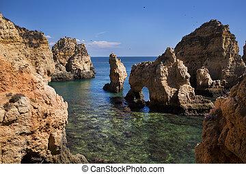 costa, com, penhascos, em, Lagos, Algarve,