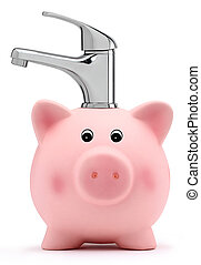 piggy bank with tap water saving concept