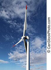 energy wind turbines and blue sky