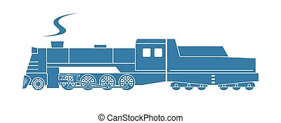Steam locomotive with tender. Vector illustration.