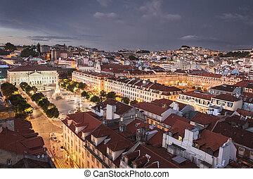 Lisbon city at night from above