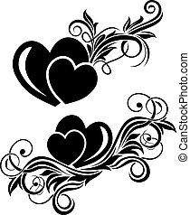 Black floral design element