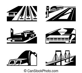 Various types of enormous buildings - vector illustration