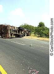 Accident of a Truck - A view of the rear wheels of a skidded...