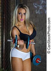 vacker, flicka,  fitness