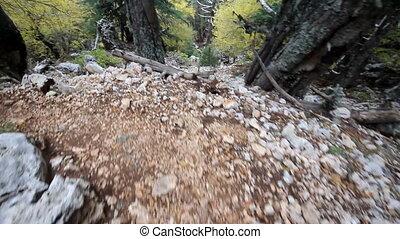 mountain hike trail among rocks down - Lycian way in Turkey...