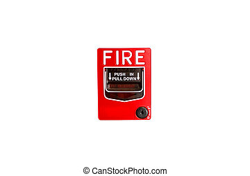 Fire alarm. - red fire alarm isolated on white background.